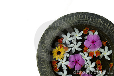 Flowers in water in a stone bowl