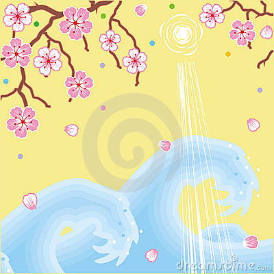 Flowers and waves spring background