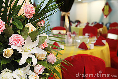 Flowers on wedding banquet.