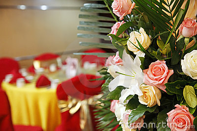Flowers on wedding banquet.