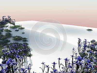 Flowers on a white beach sand dune