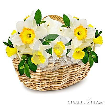 Flowers in the wicker basket