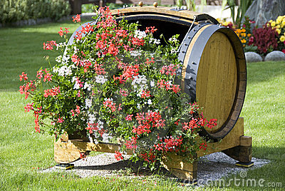 Flowers in a wood barrel
