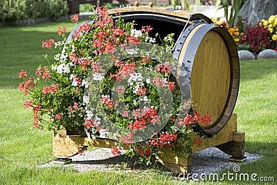 Flowers in a wood barrel