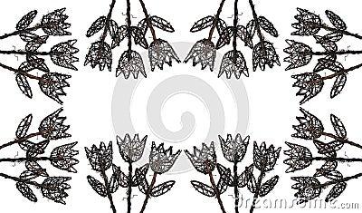 Flowers of Wood Frame 2