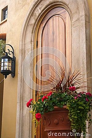 Flowers by Wooden Door