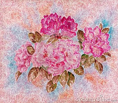 Flowers on a wool