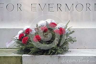 Flowers Wreath laid at the Military War Cemetery in Oosterbeek Editorial Image