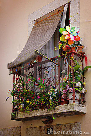 Free Flowery Balcony Stock Photography - 18954332