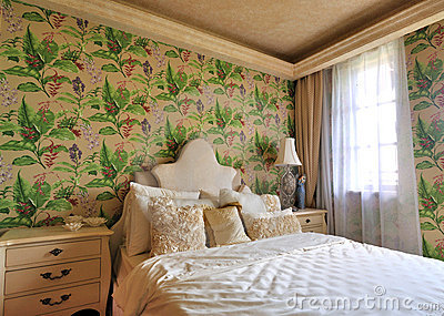 Flowery bedroom in morning lighting