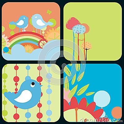 Flowery design greeting cards