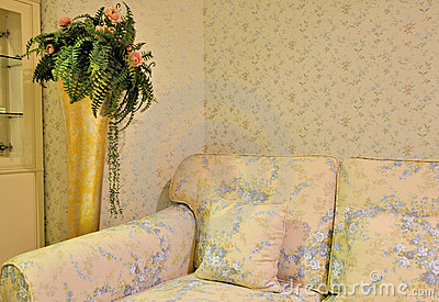 Flowery living room and sofa chair