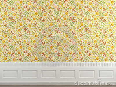 Flowery wallpaper wall
