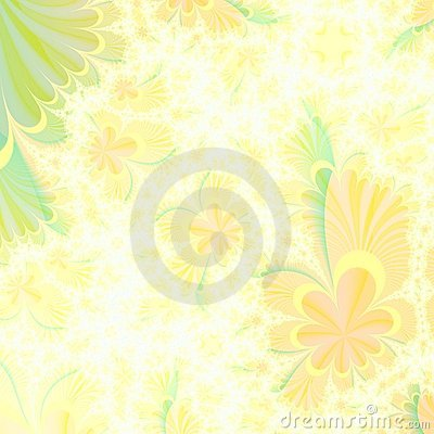 Flowery Yellow and Green abstract background design template
