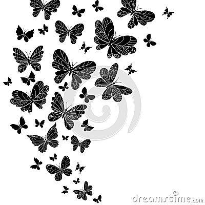 Flowing curving design of flying butterflies