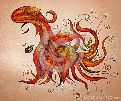 Flowing hair with fall leaves