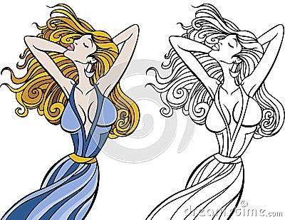 Flowing Hair Woman Set