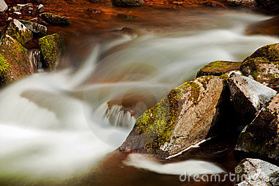 Flowing river blurred through rocks