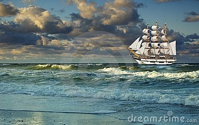 Flowing with  sea sailing-ship