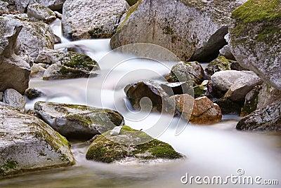Flowing stream between the rocks
