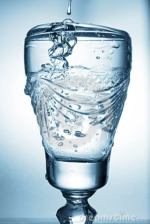 Flowing water in glass
