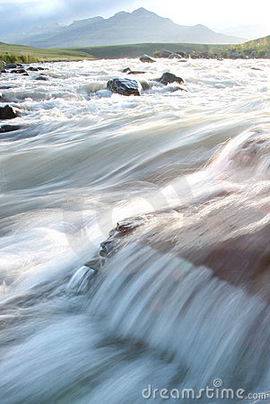 Flowing waters of a River