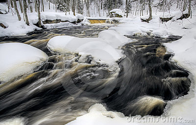 Flowing winter waterfall