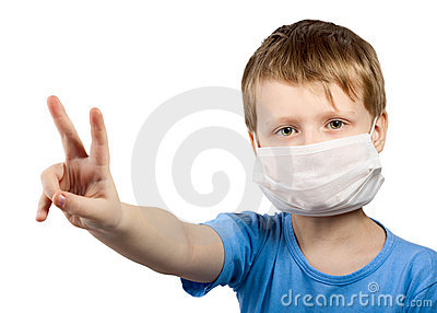 Flu illness child boy in surgical mask