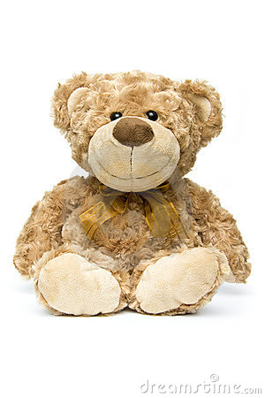 Fluffy brown teddy bear sitting down