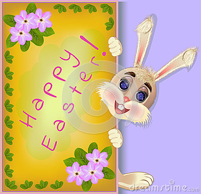 Free Fluffy Bunny Rabbit Easter Greeting Card Royalty Free Stock Photo - 88683015