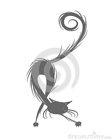 Fluffy cat silhouette for your design