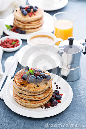 Free Fluffy Chocolate Chip Pancakes Royalty Free Stock Photo - 62516365