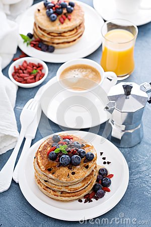 Free Fluffy Chocolate Chip Pancakes For Breakfast Stock Image - 79749731