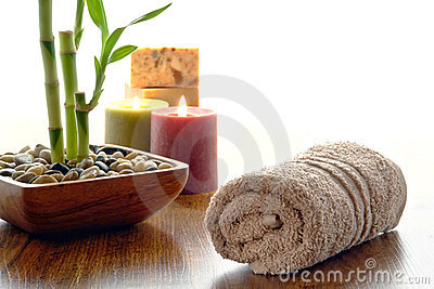 Fluffy Cotton Hand Towel and Bamboo Plant in a Spa