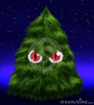 Fluffy evil fir tree with eyes