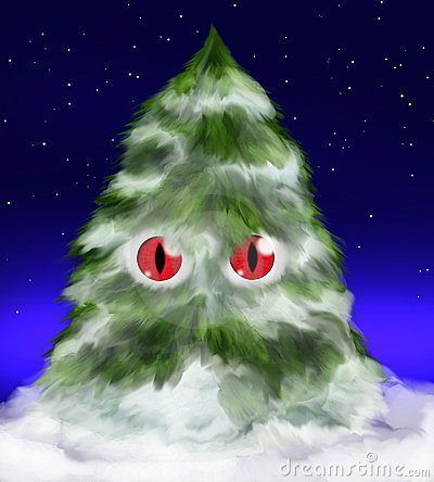 Fluffy evil fir tree with eyes and snow