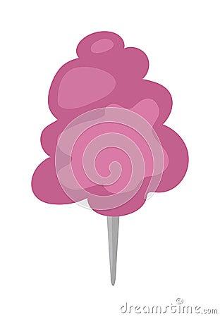 Free Fluffy Fair Dessert Cotton Candy On Wooden Stick Cartoon Vector Illustration. Stock Image - 68254341