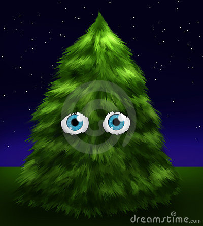 Fluffy fir tree with eyes