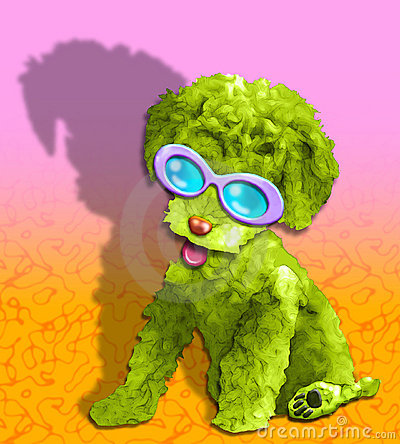 fluffy green glamour pup