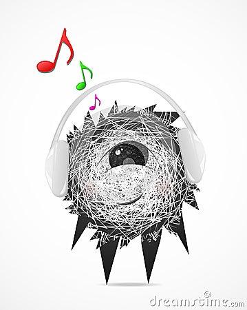 Fluffy in headphones
