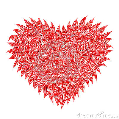 Fluffy Red Heart