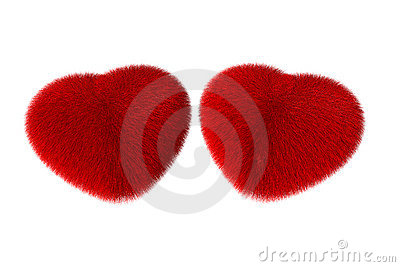 Fluffy red hearts