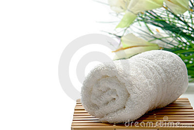 Fluffy White Cotton Hand Towel in a Spa