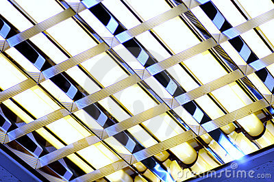 Fluorescent lamp close up with dark blue light