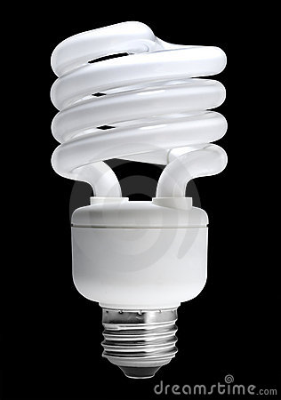 Fluorescent light bulb, isolated