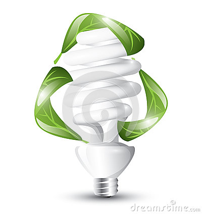 fluorescent lightbulb with swirling leaves representing recycling. Black Bedroom Furniture Sets. Home Design Ideas