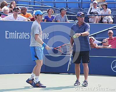 Grand Slam champion Andy Murray with his coach Ivan Lendl practices for US Open Editorial Stock Photo