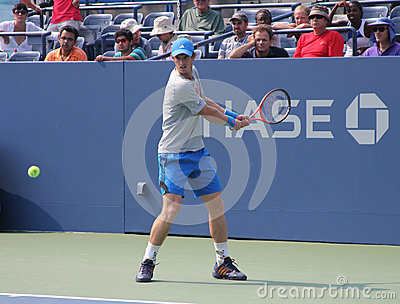 Grand Slam champion Andy Murray practices for US Open at at Billie Jean King National Tennis Center Editorial Image