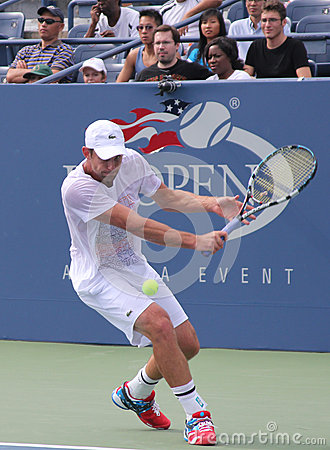 Grand Slam champion Andy Roddick practices for US Open  at Billie Jean King National Tennis Center Editorial Photo