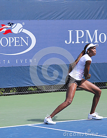 Seven times Grand Slam champion Venus Williams practices for US Open at Billie Jean King National Tennis Center Editorial Image